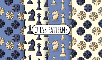 Set of vector black chess pieces seamless patterns. Collection of chess wallpapers. Vector flat illustration