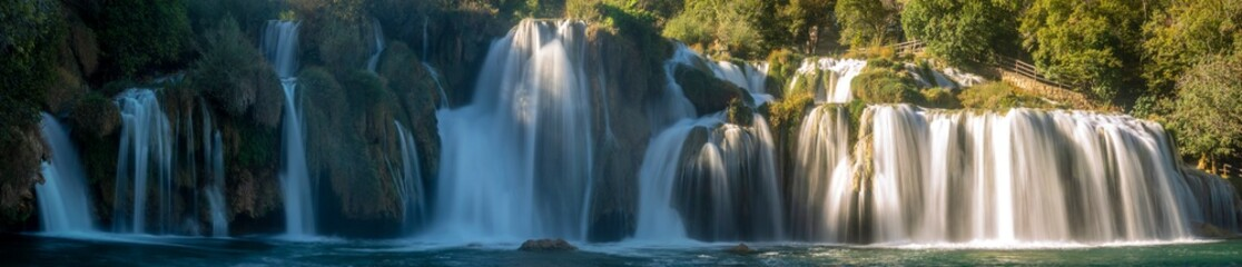 Fotobehang Watervallen Krka National Park-panorama of the waterfall