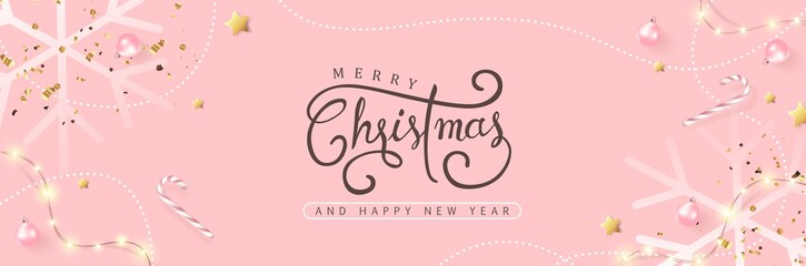 Fototapete - Merry Christmas and Happy New Year background banner.Merry Christmas vector text Calligraphic Lettering Vector illustration.