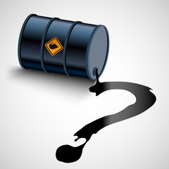 Oil fuel flows from a barrel as a question mark