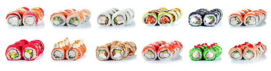 Printed roller blinds Sushi bar Sushi Rolls Set, maki, philadelphia and california rolls, on a white background.