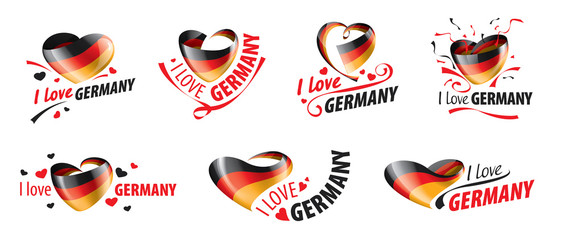 The national flag of the Germany and the inscription I love Germany. Vector illustration