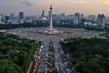 An aerial picture during a rally called the Alumni 212 reunion at National Monument (Monas) complex in Jakarta