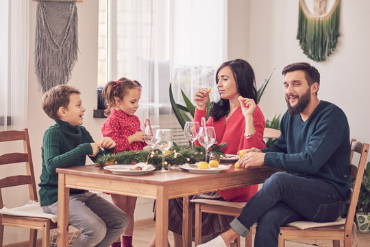 Family Together Christmas Celebration Concept. Family Enjoying christmas dinner background