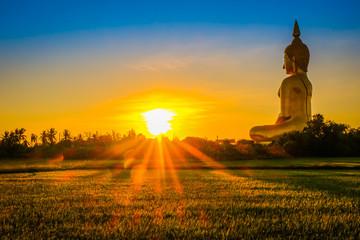 Large golden Buddha statue at Wat Muang, Ang Thong Province, Thailand