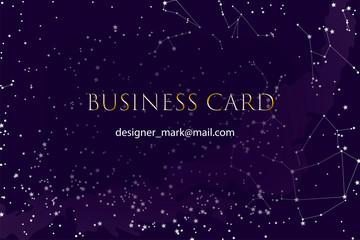 Business card, template in a fabulous or scientific style. Business card about astronomy,