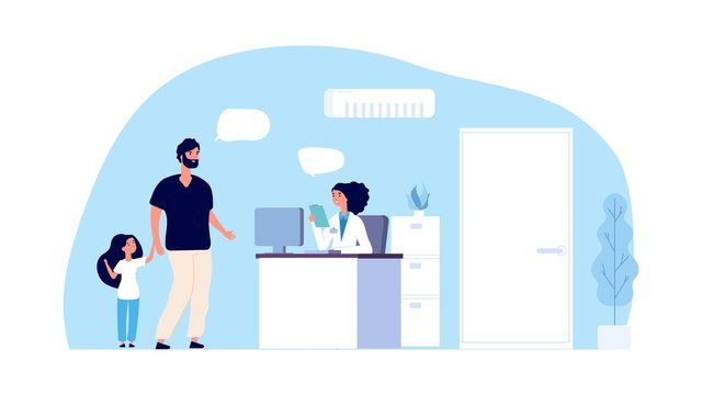 Medical assistant concept. Hospital office. Father and daughter talk with administrator in clinic. Hospital staff and patients vector character. Illustration healthcare assistance and reception clinic