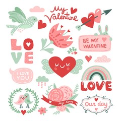 Valentines day scrapbook. Bird with red heart, flowers and love inscriptions, cute rabbit stickers. Vector decorative design elements. Love and heart, celebration romance day illustration