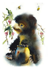 Bear with pot of honey. Raspberry bushes. Watercolor hand drawn illustration