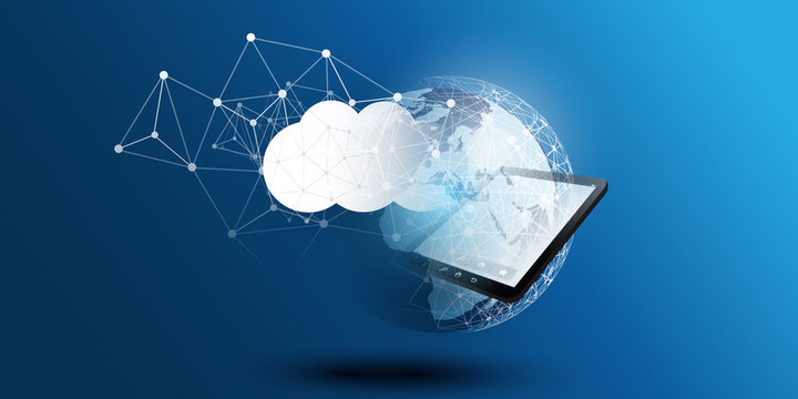Cloud Computing Design Concept - Digital Connections, Technology Background with Earth Globe, Tablet PC Device and Geometric Network Mesh