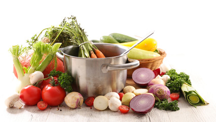 Wall Mural - cooking pot with raw vegetable