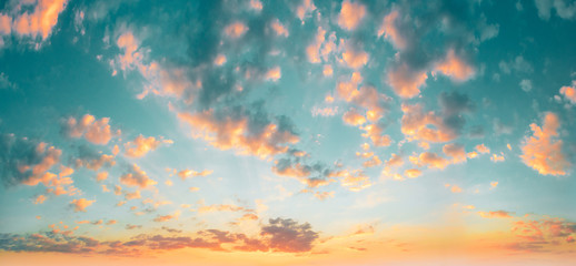 Natural Sunset Sunrise Bright Dramatic Sky Abstract Background. Panorama Panoramic View Fotobehang