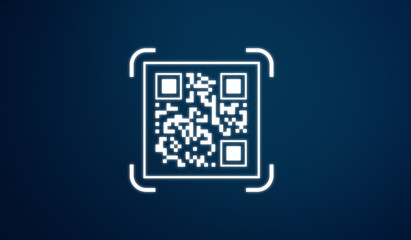 QR code icon, on blue background