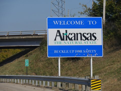 Welcome to Arkansas welcome sign at Highway 64 past Oklahoma border.