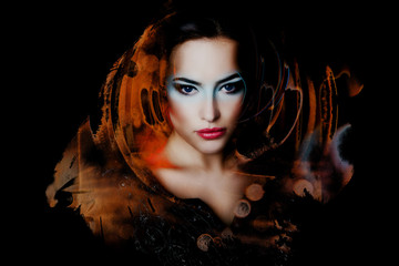 beautiful woman double exposure abstract shapes modern style portrait