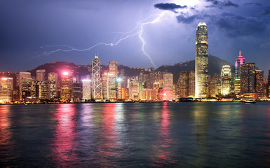 Hong Kong at storm with lightning bolt