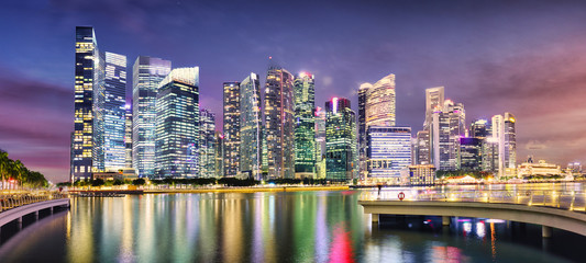 Singapore panorama skyline at sunset, Marina bay