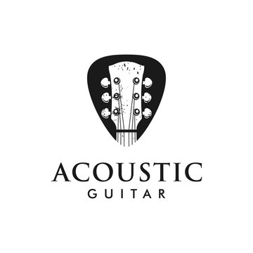Acoustic guitar logo with guitar pick inspiration