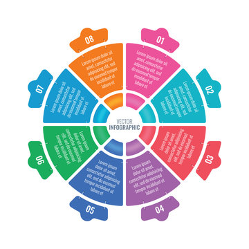 eight step infographic wheel. round information template. stapled business infographic