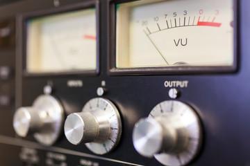 UV Sound Meter and Control Dials in Recording Studio
