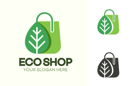 Vector eco shop logo consisting of shopping bag and leaf green color isolated on background for farm fresh shop, vegan food store, natural product market, organic product. 10 eps