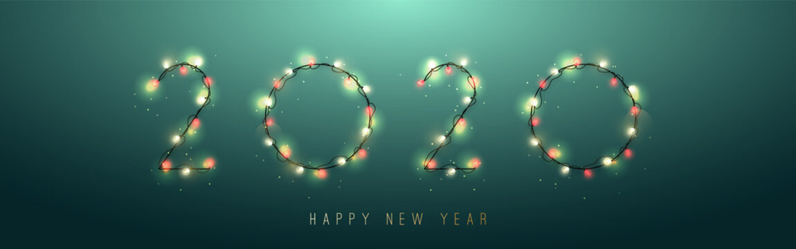 2020 New Year from bright garlands isolated on green background. Transparent decorative garland. Vector illustration.