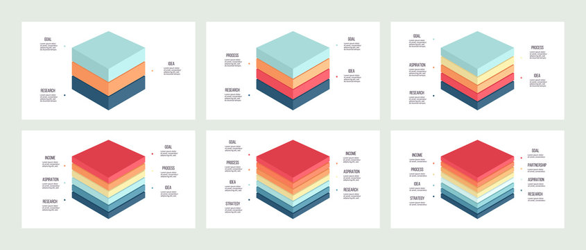 Business infographics. Charts with 3, 4, 5, 6, 7, 8 steps, options, layers, levels. Vector diagram.