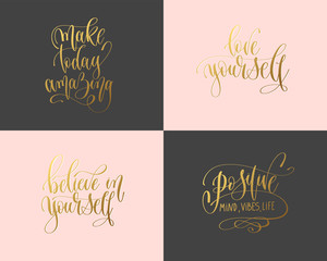 set of 4 hand gold lettering inscription typography text positive quote