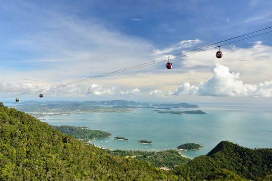 Malaysia, Langkawi view on  Cable Car on top of the Machinchang mountain.