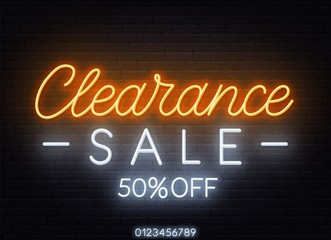 Fototapete - Clearance sale neon sign on dark background.