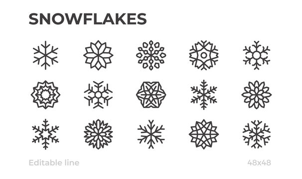 Vector snowflakes icons for winter, Christmas and New Year decoration. Editable stroke.