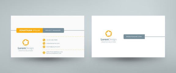 Creative and clean corporate business card template. Vector illustration. Stationery design