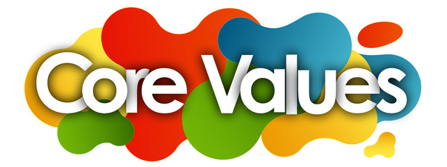Core Values in color bubble background