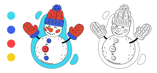 Coloring page outline of cartoon cute snowman with knitted hat and mittens. Monochrome and colored versions. Coloring book for kids. Vector drawing.