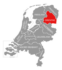 Drenthe red highlighted in map of Netherlands