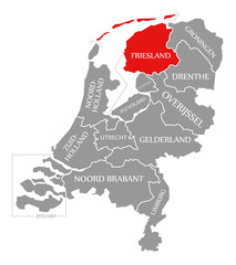 Friesland red highlighted in map of Netherlands