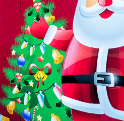 Colorful Christmas background with Santa Claus and Christmas tree.