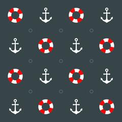 maritimes Muster mit Rettungsring und Anker