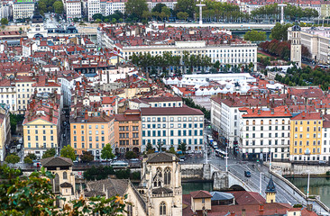 Panoramic view of Lyon, Rhone-Alpes, France