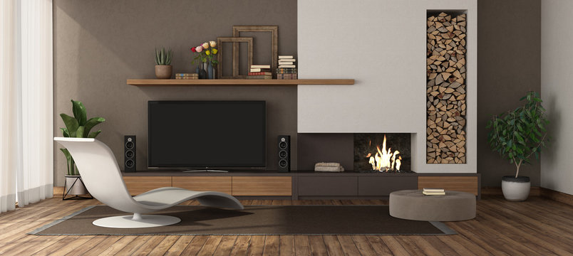 Modern living room with fireplace and tv set