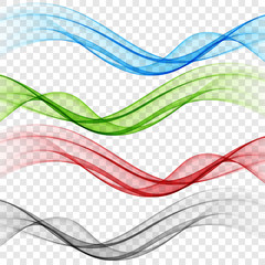 In de dag Abstract wave Set abstract color wave smoke transparent smooth vector colorful lines