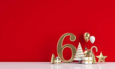 The 12 days of christmas. 6th day festive background. 3D Render