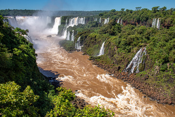 Panorama of Iguazu Falls gorge with brown river, white cascading falls and lush green rainforest in sunshine