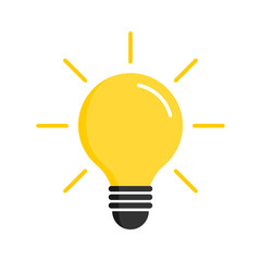 Light bulb icon. Light bulb vector icon. Idea icon. Lamp concept. Light bulb, isolated on white background in modern simple flat design. Vector