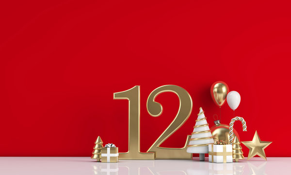 The 12 days of christmas. 12th day festive background. 3D Render