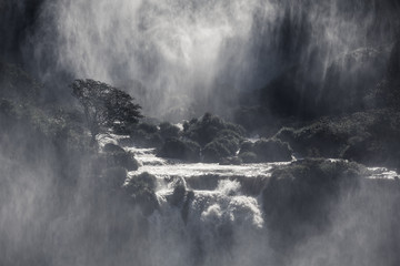 Mystical view to waterfall cascades with a wall of spray and sunlight, Iguazu Falls, Misiones, Argentina Wall mural