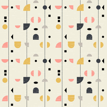 Abstract geometric vector seamless pattern inspired by mid-century modern fabrics. Simple shapes and lines in retro pastel colors and textured background. Clipping mask is used for easy editing.