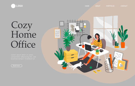 Landing page template with Freelancer designer girl working in nordic style home office with cat. Daily life and everyday routine scene by young woman in scandinavian style cozy interior. Cartoon