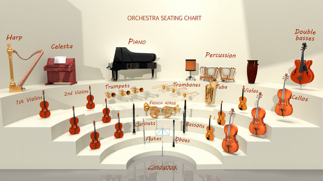 Orchestra seating chart - musical instrument positions. 3D rendering