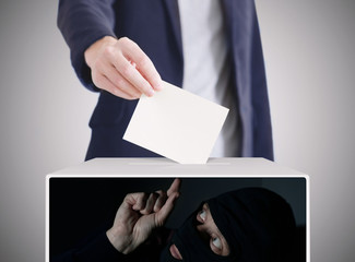 Man putting a ballot into a voting box. Thief Inside a Box Stealing Voting Ballot. Ellection concept.